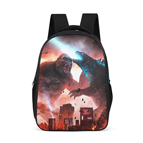 Godzilla and Kong Women's&Men's Backpacks Boys Girls School Book Bags for College Laptop Bright Gray OneSize