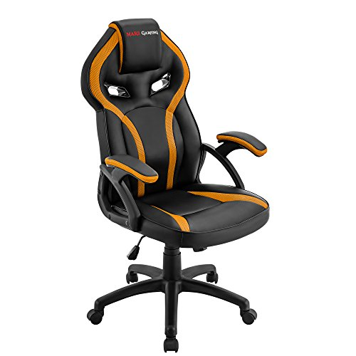 Mars Gaming MGC118, Silla Gaming Ergonómica en PU, Regulable, Amarillo