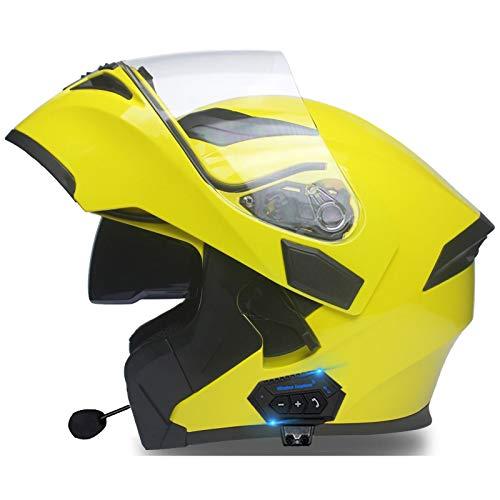 STRTG Visera Solar Doble Casco Bluetooth de Cara Completa/Abierta Modular Motocicleta Moto Bicicleta Casco de Choque para Adultos Hombres y Mujeres Gorras de Seguridad abatibles D,L : 59 cm-60 cm
