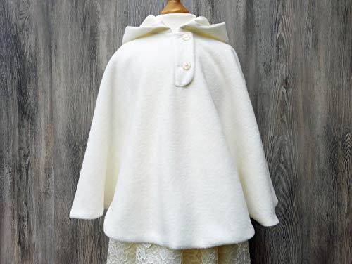 Cremfarbenes Taufcape, weißer Mantel für Kommunion, warmer Umhang fürs Brautmädchen