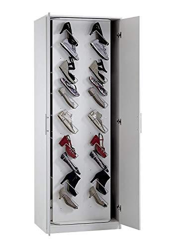 SAM Schuhschrank Antonio, Hochglanz weiß, drehbarer Innenbereich, 7 offene Fächer, Massiver Schrank für ca. 20 Paar Schuhe, 220x80x60 cm