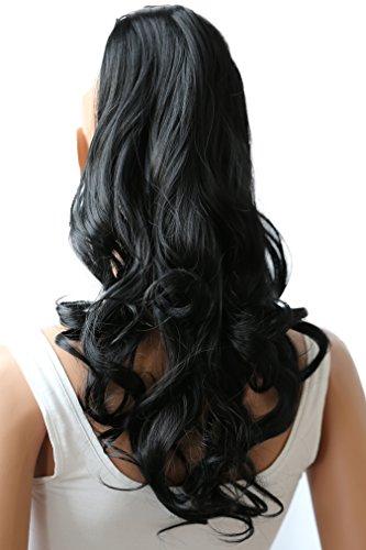 PRETTYSHOP 50cm Haarteil Zopf Pferdeschwanz Haarverlängerung Gewellt Schwarz HC9-1