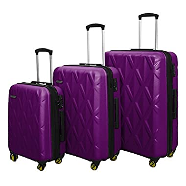 3 PC Luggage Set Durable Lightweight Hard Case Spinner Suitecase LUG3 SS505A PURPLE