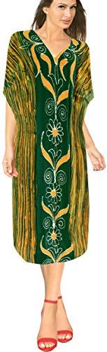 LA LEELA Frauen Damen Baumwolle Kaftan Tunika Batik Kimono freie Größe Lange Maxi Party Kleid für Loungewear Urlaub Nachtwäsche Strand jeden Tag Kleider Grün_U990 DE Größe: 42 (L) - 48 (2XL)