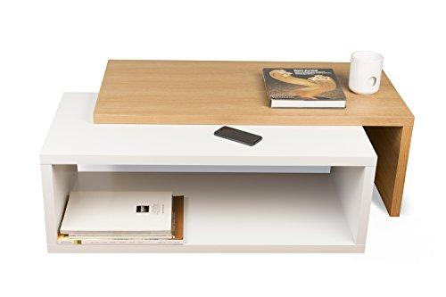 TemaHome Jazz Table Basse, placage, Blanc Mat/Chêne, 90 x 45 x 33 cm