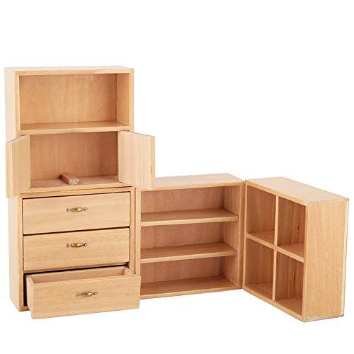 Gabinete de casa de muñecas, gabinete de madera en miniatura, sala de estar, dormitorio, unidad de gabinete, muebles de casa de muñecas, accesorios de cocina, accesorio para casa(burlywood)