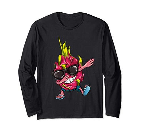 面白い食べ物を軽くたたくドラゴンフルーツギフト 長袖Tシャツ