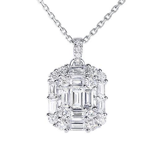 DX.GD Diamant Einfach Squaret Anhänger in 18 Karat Weißgold Halskette zum Frau Mädchen (VVS2, F-G, 40cm Kette),0.9CT