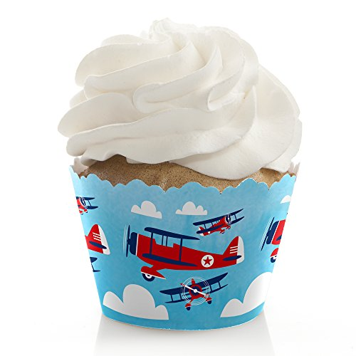 Taking Flight - Airplane - Vintage Plane Baby Shower or Birthday Party Decorations - Party Cupcake Wrappers - Set of 12