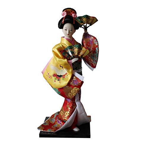Baoblaze 12 Zoll Vintage japanische Kimono Puppe mit Fächer, orientalische Kokeshi Geisha Puppe Modell Kunsthandwerk - Gelb