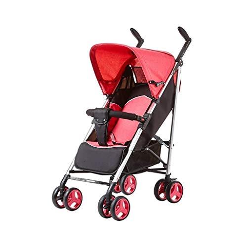 CS-DTXC Baby Kinderwagen Kan Zitten Liggend Licht En Opvouwbare Schokdemper Baby Kind Hand Push Paraplu Aluminium Frame Roze (Kleur : Roze, Roze Beste Gift voor Mama/Papa