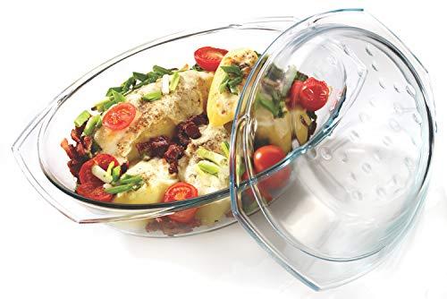 Glas Bräter 2,9 L mit Deckel Auflaufform Glasbräter Bratschüssel Dropsystem Glas Made in EU