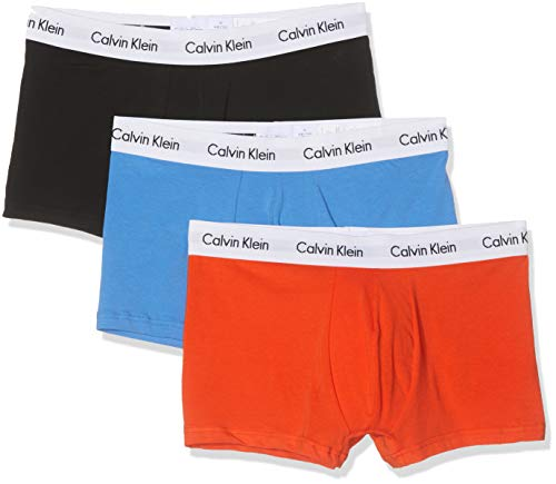 Calvin Klein Herren 3p Low Rise Trunk' Boxershorts, Orange (Tangerine/Black/Regatta W.Wht Wb Kxd), Medium (3er Pack)
