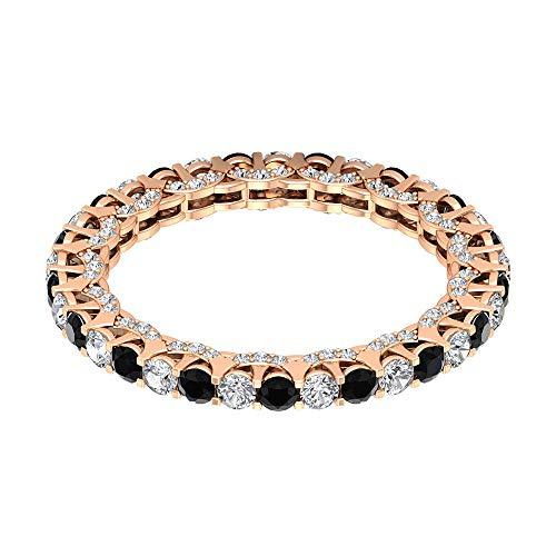 Anillo de oro de ónix negro y diamante de 1,39 quilates, anillo de eternidad de diamantes HI-SI, anillo de compromiso de corte redondo de 2 mm, 18K Oro rosa, Size:EU 70