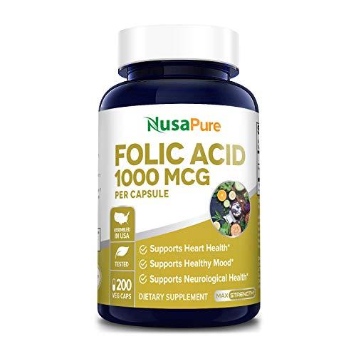Folic Acid 1000mcg 200 Veggie Caps (Non-GMO, Vegetarian & Gluten Free) Supports Cardiovascular Health, Prenatal Development and Energy Metabolism