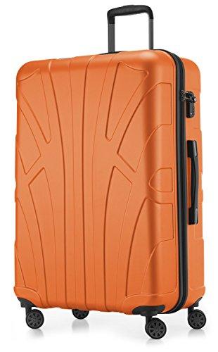 Suitline großer Hartschalen-Koffer Koffer Trolley Rollkoffer XL Reisekoffer, TSA, 76 cm, ca. 96-110 Liter, 100{88a57cfadcc0b0cc5c298c293a0221e47acebc494b1b0bf13921ec36d694dc89} ABS Matt, Orange