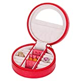Mini-Schmucktasche Weiche Textur Clutch Tragbare Reißverschlusstasche Mit Spiegel Runder Aufbewahrungskoffer Aus PU-Leder für Freundin Geschenk,Rot