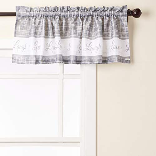 """Achim Home Furnishings Achim Home Imports Live, Love, Laugh Window Curtain Tier Pair and Valance Set, Pair & Valance 58"""" x 36"""", Grey"""
