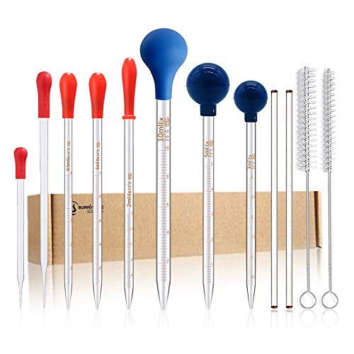 8PCS Thick Glass Graduated Dropper Pipettes Fluid and Liquid Pipettors 0.5ml 1ml 2ml 3ml 5ml 10ml 10CM 20CM with Caps and 2PCS Washing Brushes and 2PCS 20cm Glass Stir Rod(20cm-7.8inch)