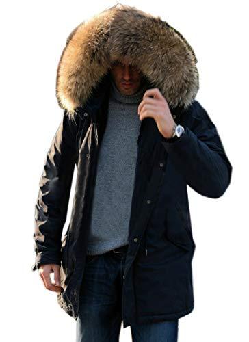 Aofur Mens Winter Warm Thick Faux Fur Slim Trench Coat Long Jacket Parka Hooded Pea Coat Winter Coat S-XXXL (Small, New Black)