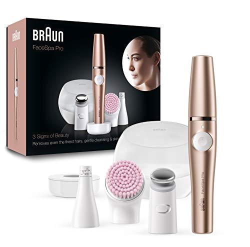 Braun FaceSpa Pro SE921 Épilateur Visage Beauté Tout-en-Un, Brosse Nettoyante Peaux Sensibles et Tête Raffermissante, Bronze
