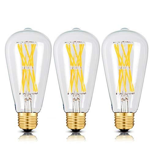 Edison Light Bulbs 100 watts,15W Dimmable Led Bulbs, 2700K Warm White 1300LM E26 Medium Base, ST21(ST64) Edison LED Filament Bulbs, 360 Degrees Beam Angle, Pack of 3