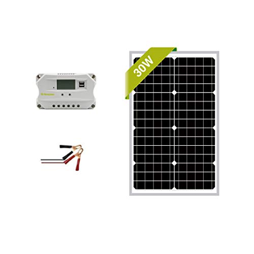 Newpowa 30w Watt 12v Solar Panel + PWM 10A 12v Smart Charging Controller Regulator