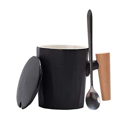 Amody Keramikbecher,Kaffeebecher,Teebecher Trinkbecher Schwarz Keramikbecher 360ml Tasse mit Henkel für Heißgetränke