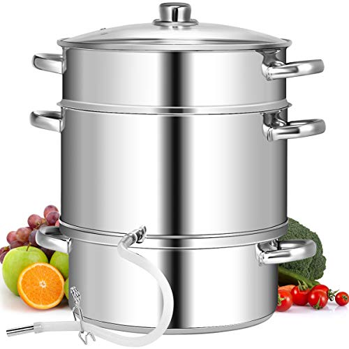 DREAMADE Dampfentsafter Edelstahl mit Glasdeckel, Entsaftungstopf Saftpresse ObstpresseEntsafter 11L, 3-stöckiger Fruchttopf für Obst und Gemüse, geeignet für Elektroherde und Gasherde