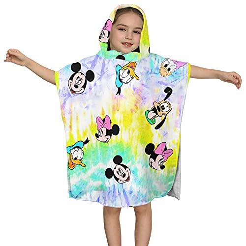 Toalla de baño con capucha para niños, toalla de playa suave, colorida y linda colorida Dis-ney Mi-ck-ey Mouse baño/piscina/playa con capucha poncho toalla absorbente toalla 2-7 años niños
