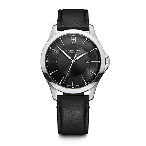 Victorinox Alliance Ø 40, schwarzes Zifferblatt, silbernes Edelstahlgehäuse, Armband schwarzes Leder + Schweizer Taschenmesser für Herren 241904.1