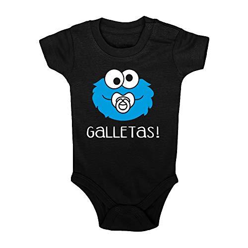 ClickInk Body bebé Galletas. Regalo bebé. Regalos para bebés. Regalo divertido. Regalo original. Bebé friki. Regalo friki. Body friki. Body bebé algodón. Manga corta. (Negro, 9 meses)