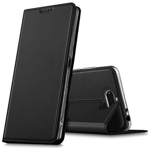 Verco Handyhülle für Xperia 10, Premium Handy Flip Cover für Sony Xperia 10 Hülle [integr. Magnet] Book Case PU Leder Tasche, Schwarz