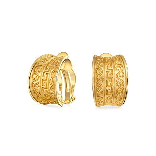 Egipcio griego motif amplio medio aro clip en pendientes para las mujeres no perforadas orejas mate 14K oro chapado latón