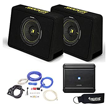 Alpine MRV-M500 Amplifier and Two Kicker TCWC104 CompC 10  Subwoofers in Truck Enclosures 4-Ohm Each - Includes Wire kit