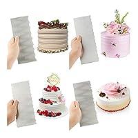 YVCHEN 1PCSステンレス鋼のケーキデコレーションツールケーキスクレーパーペストリーくしスムーズなクリーム飾るベーキングツールキッチン焼き型 (Color : Set 01)