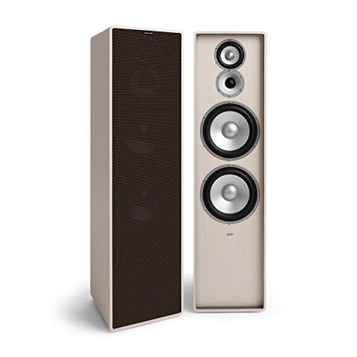 NUMAN Retrospective 1977 MKII - Standlautsprecher, 3-Wege Lautsprecher, HiFi Speaker, dunkelbraune Lautsprecherabdeckung, 120 Watt, 2 x 20 cm-Tieftöner, 10 cm-Mitteltöner, Hochtöner, weiß