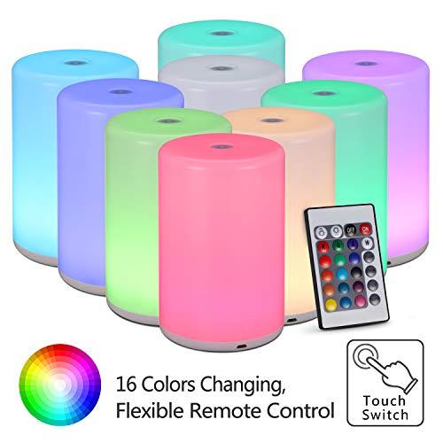 Nachttischlampe Touch Control, KWOKWEI Led Tischleuchte mit Fernbedienung 5 Helligkeit, Wiederaufladbares Stimmungslicht Schreibtischlampe dimmbar mit 16 RGB Farbwechsel für SchlafZimmer Kinderzimmer