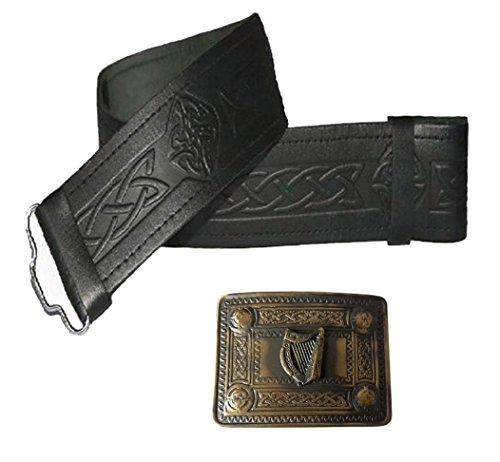 Cinturón Kilt de cuero en relieve y hebilla de arpa irlande