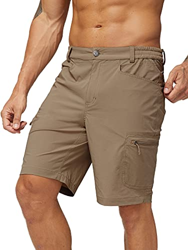 MIER Men's Quick Dry Hiking Shorts Stretchy Cargo Shorts with 6 Pockets, Water Resistant, 34, Khaki