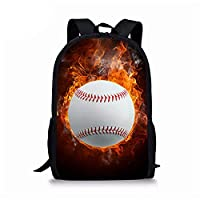 野球の学生のランドセル、3Dプリントラップトップバックパックファッションスクールバッグ16インチ