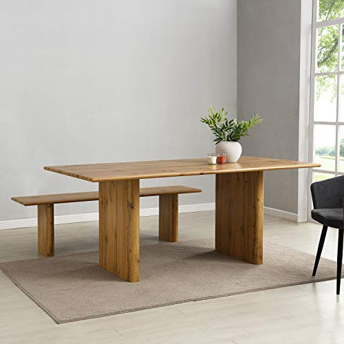 Cherry Tree Furniture Kennett Oak Effect 180 cm Dining Table and Bench Set