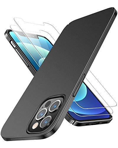 RANVOO - Custodia compatibile con iPhone 12 Pro Max, compatibile con iPhone 12 Pro Max con 2 pellicole proteggi schermo, ultra sottile, in plastica dura, ottima presa, finitura opaca, nero opaco