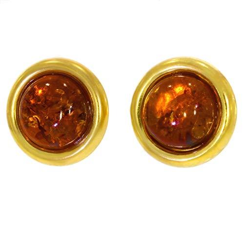 ARTIPOL Pendientes con Ámbar dorado Artesania europea estilo francés - Bisutería de plata rodinada E-22-08 - Muchos piedras disponibles