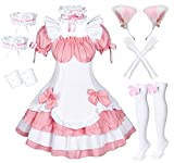Anime French Maid Lolita Fancy Queen Princess Dress Cosplay Costume Furry Cat Ear Gloves Socks set(PinkL)
