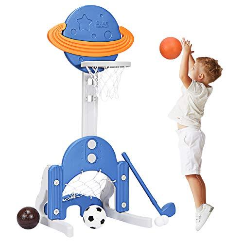 Costzon Kids Basketball Hoop, Toddler Sports Activity Center w/ 5 Adjustable Height Levels, Basketball Soccer Golf Game Set, Indoor Outdoor Basketball Hoop Set Best Gift for Baby Infant (Blue Galaxy)
