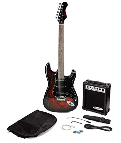 Jaxville Demone Stile St Pacchetto Chitarra Elettrica con Amplificatore per Chitarra Chitarra Sacchetto di Chitarra Corde della Chitarra Cinghia Chitarra Solista e Chitarra Plectrums