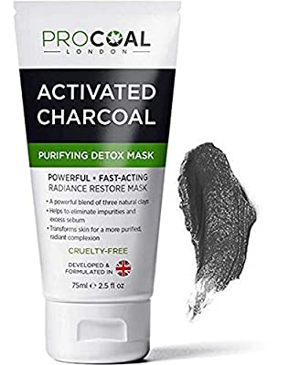 Face Mask, Purifying & Detoxifying Charcoal Face Mask 75ml by PROCOAL - Blackhead Remover Charcoal Face Masks, Clay Face Masks For Men & Women - Made in UK