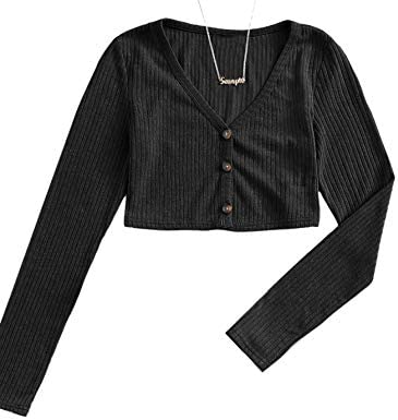 Milumia Women s Button Front V Neck Long Sleeve Casual Rib Knit Crop Top Tee Black Medium product image