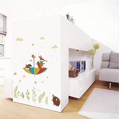 Bande Dessinée Sous La Pluie Hibou Fox Oiseau Parapluie Stickers Muraux Pour Enfants Chambres Home Decorations Animaux Stickers Muraux Pvc Affiche Mural Art